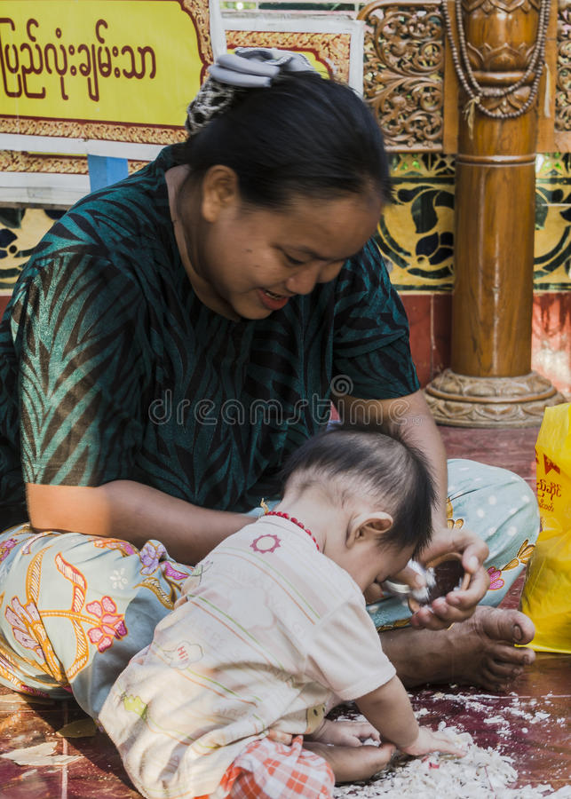 Working women and child royalty free stock image