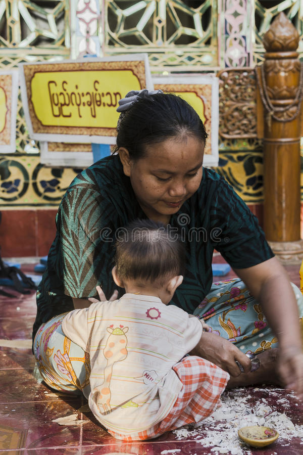 Working women and child royalty free stock photo