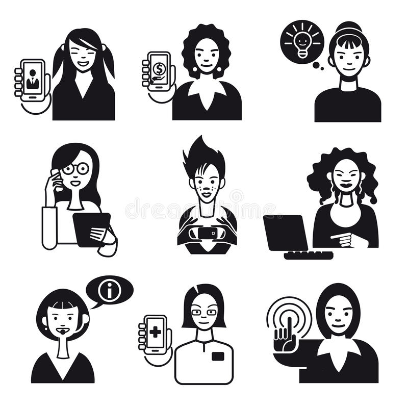 Working Women Faces Set Black And White Stock Images
