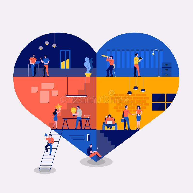 Workingspace leidt pictogram tot liefde vector illustratie