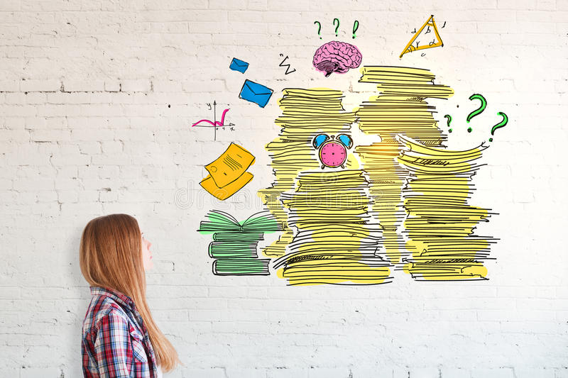 Workload concept. Girl with drawn paperwork pile on brick wall. Workload concept stock image