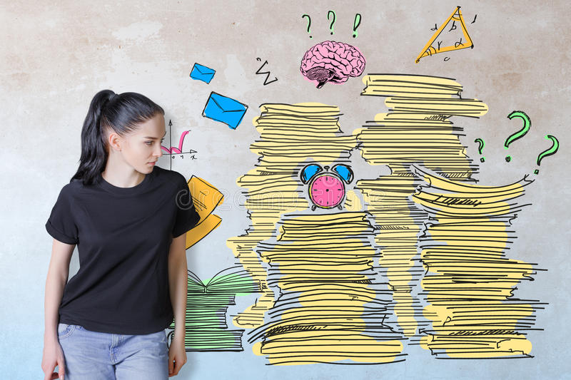 Workload concept. Thoughtful young european woman on concrete background with drawn paperwork pile. Workload concept royalty free stock photo