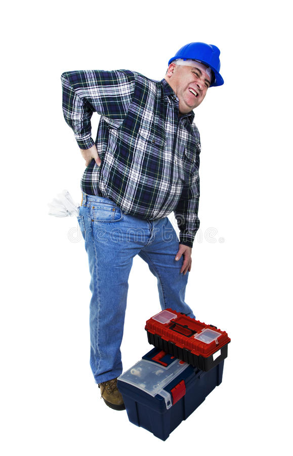 Workman with back pain stock images
