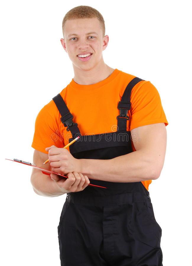 Workman With Clipboard And Pencil Royalty Free Stock Photos