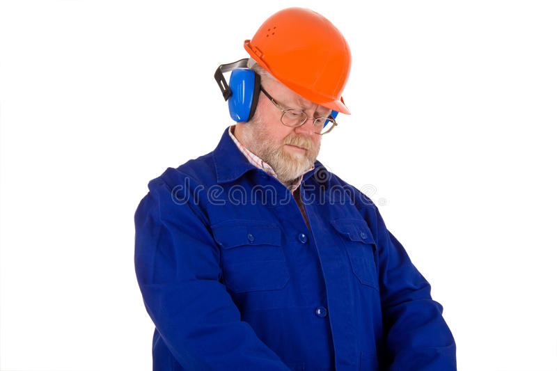 Workman With Hearing Protector Stock Photography