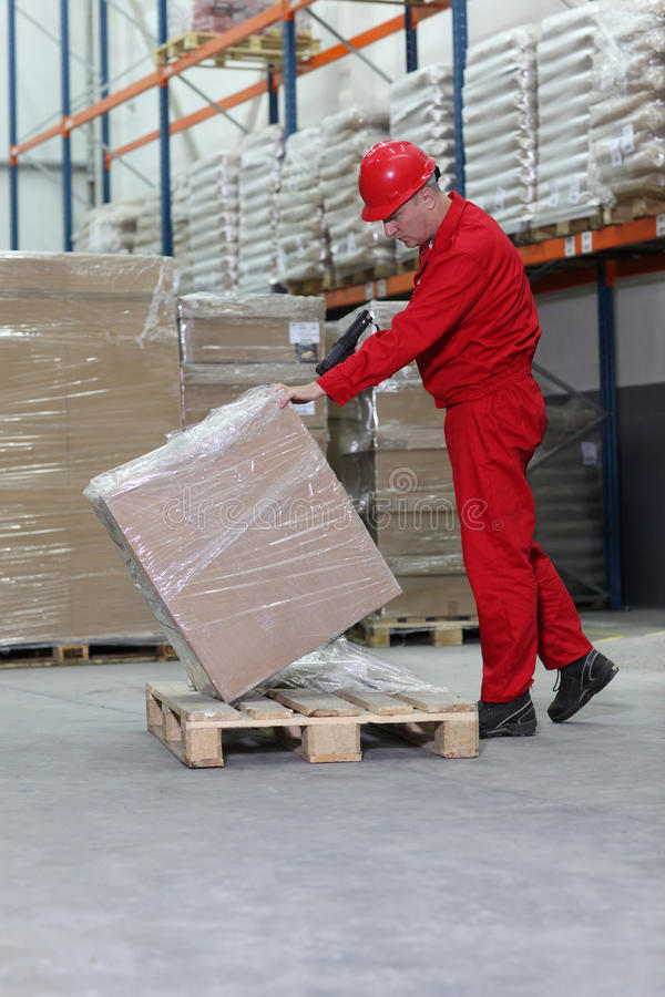 Download Workman Lifting Box On Pallet Stock Image - Image: 14623037