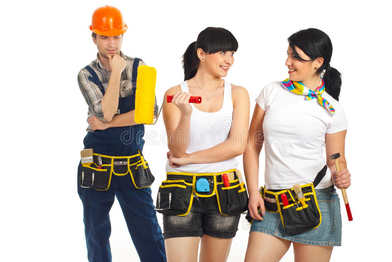 Download Workman Looking To Two Workers Women Stock Photo - Image: 19108628