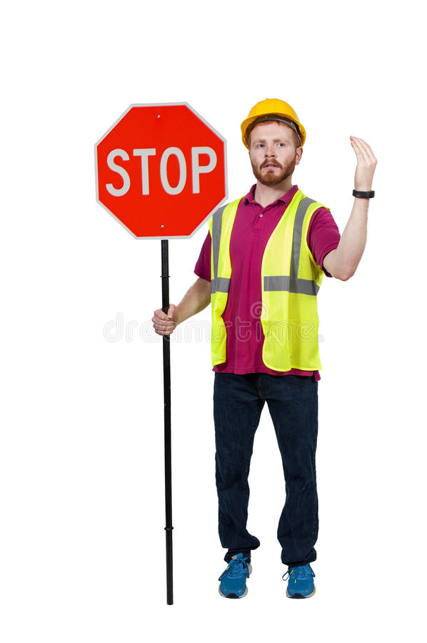 Workman with Stop Sign royalty free stock photos