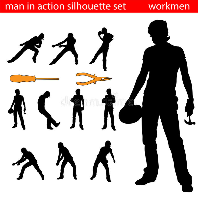Free Workmen Silhouette Royalty Free Stock Photo - 11241405
