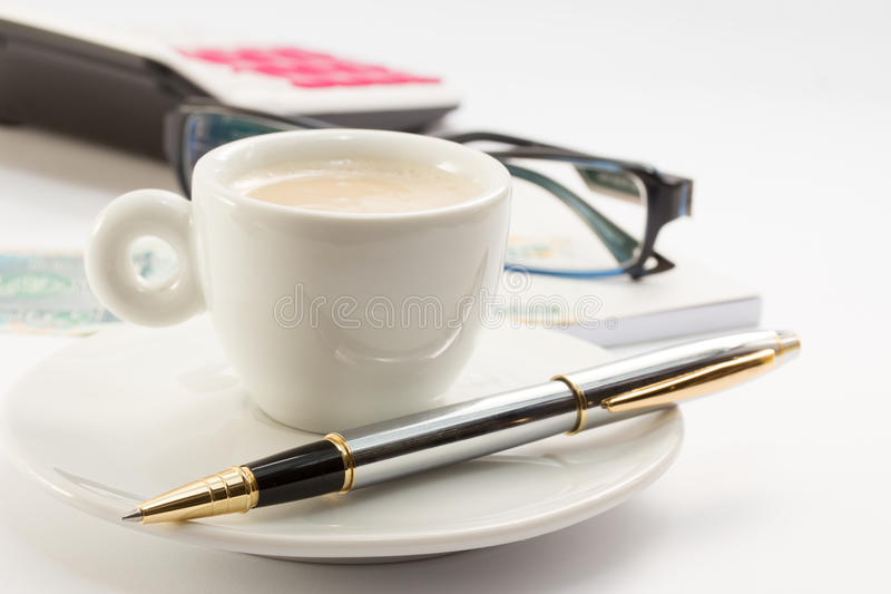 Download Workong Environment White Table Or Place With Cup Of Coffee Glasses Pen Calculator And Money Stock Image - Image: 34494013