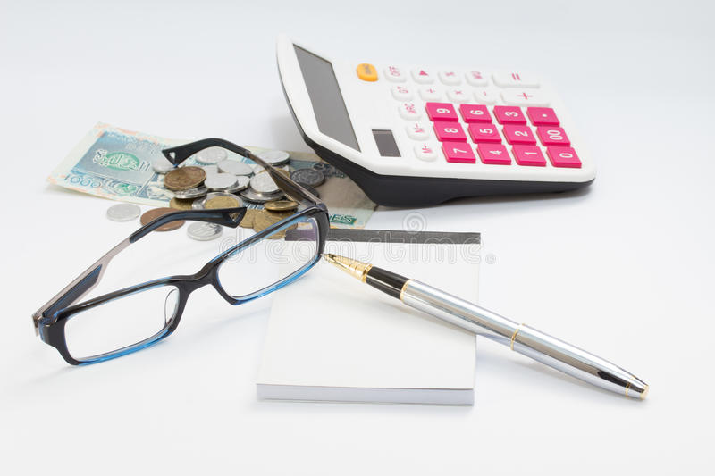 Download Workong Environment White Table Or Place With Glasses Pen Calculator And Money Stock Image - Image of background, black: 34493959