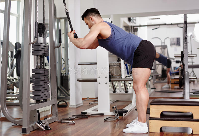 Workout At Cable Machine Stock Photo