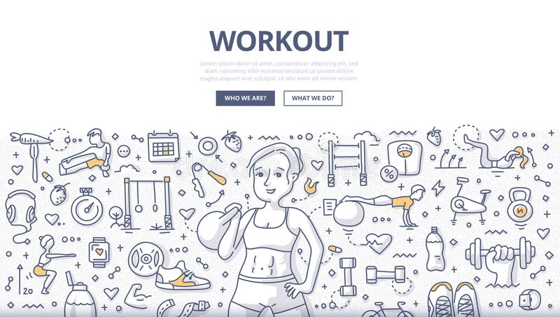 Workout Doodle Concept. Doodle illustration of a woman making exercises with kettlebell. Workout, weightlifting and fitness concept for web banners, hero images royalty free illustration