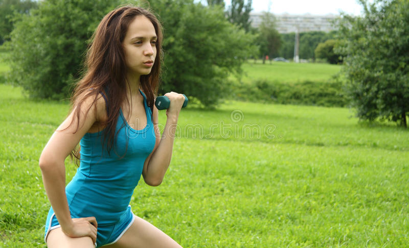 Workout With Dumbbell Royalty Free Stock Photos