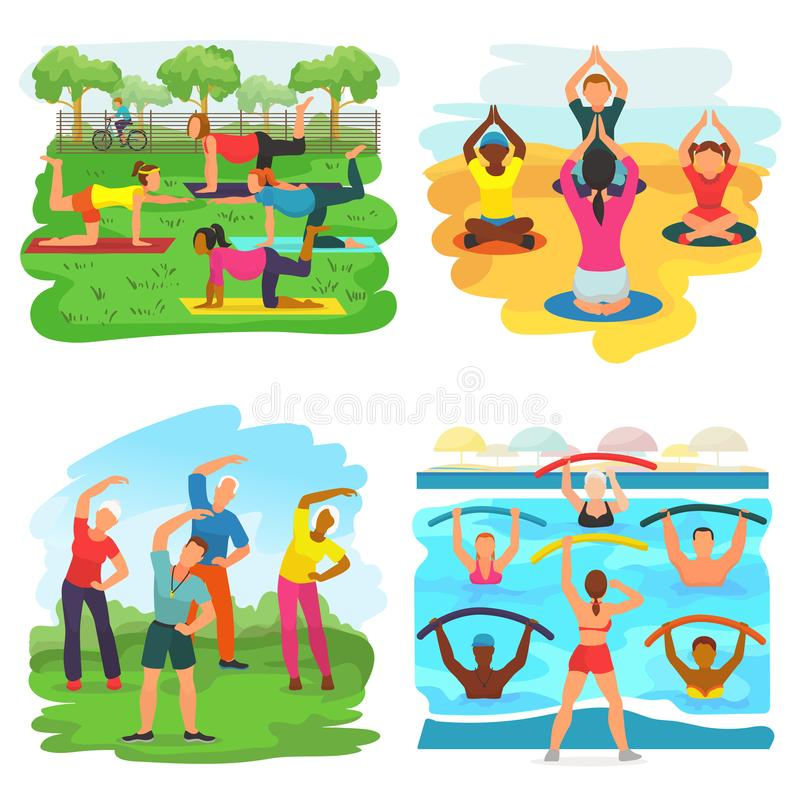 Workout exercise vector active people exercising with trainer in sportive group in park illustration set of man or woman. Character training fitness activity stock illustration