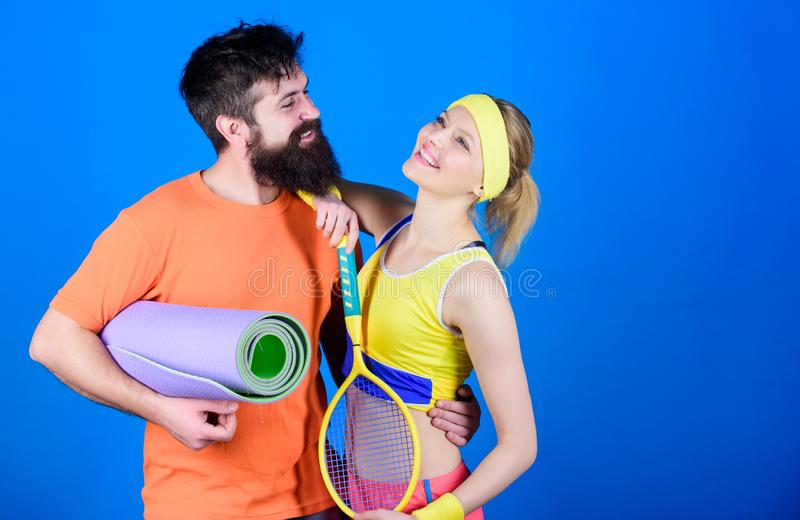 Workout and fitness. Girl and guy live healthy life. Fitness exercises. Sport is our life. Healthy lifestyle concept. Man and women couple in love with yoga stock image