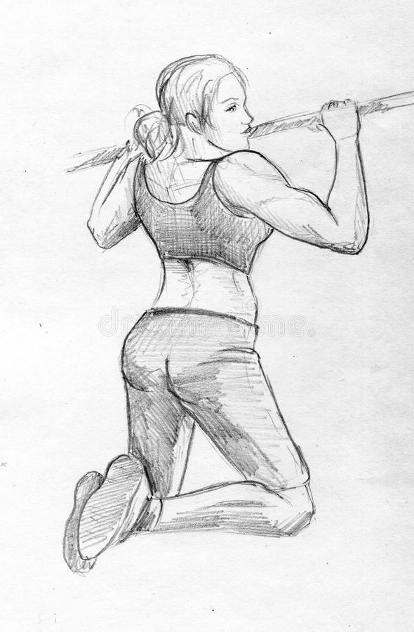Workout girl pencil sketch stock images