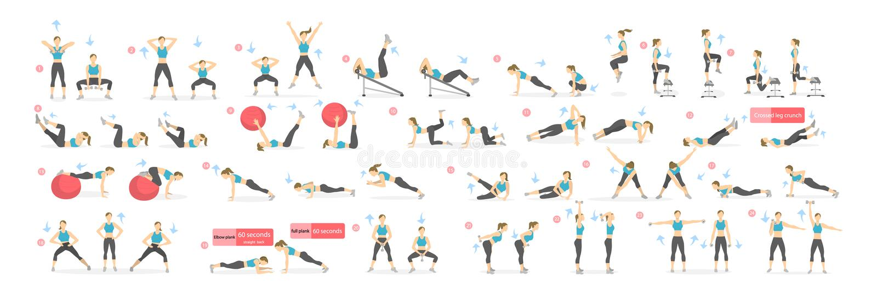 Workout girl set. royalty free illustration