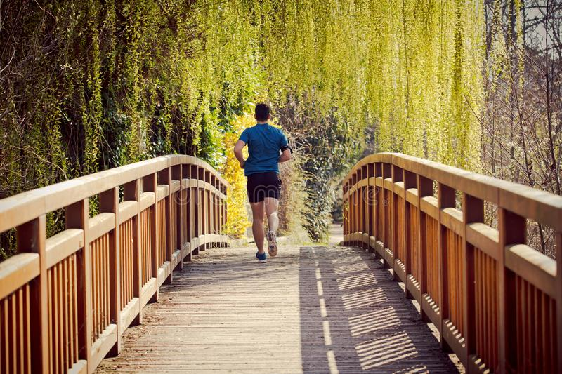 Workout jogging activity, dynamic runner athlete. Rear view Male runner running in a city park over  bridge training for fitness. Healthy lifestyle concept royalty free stock photo