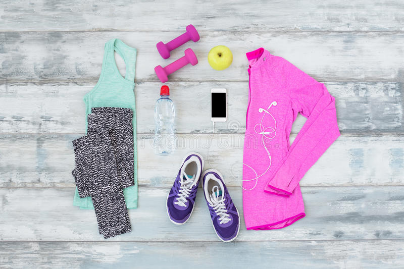 Workout kit on the wooden floor royalty free stock image
