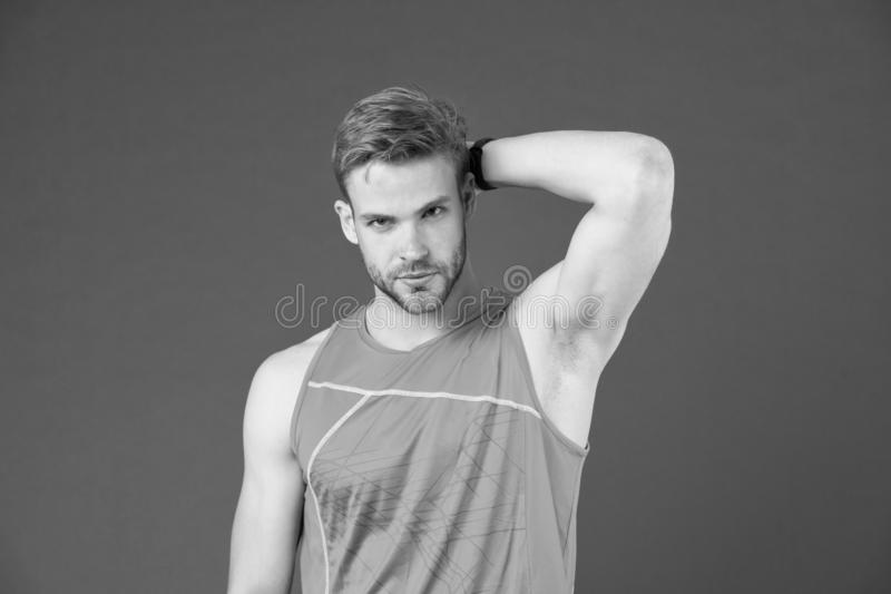 Workout is over. Man in sporty outfit finished daily training. How to avoid the biggest workout mistakes. Secret of. Effective daily workouts. Guy confident stock images