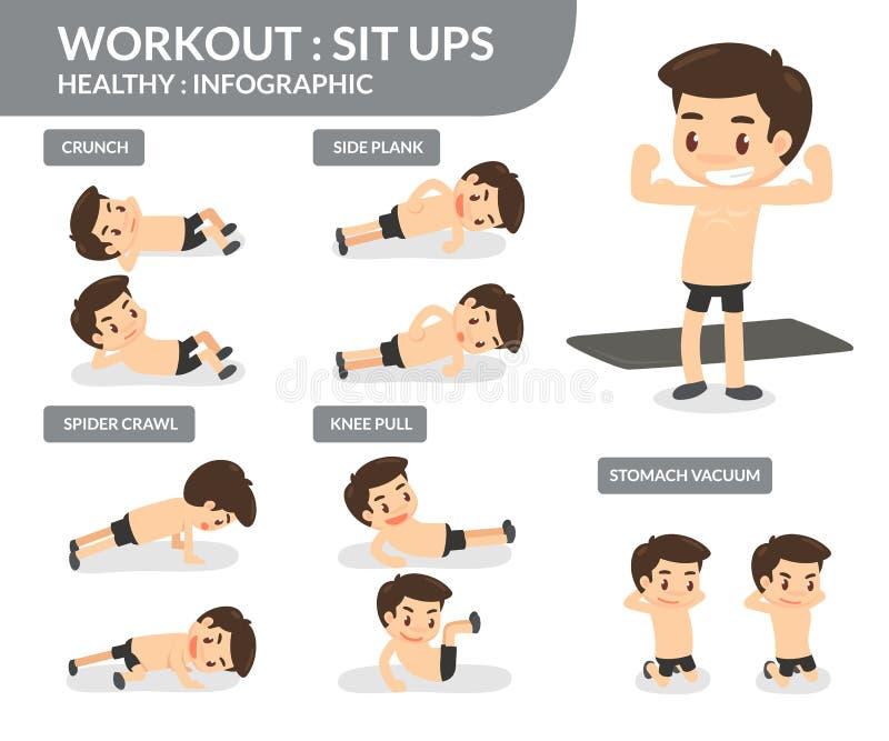 workout Reposez-vous se lève Graphique d'infos illustration de vecteur