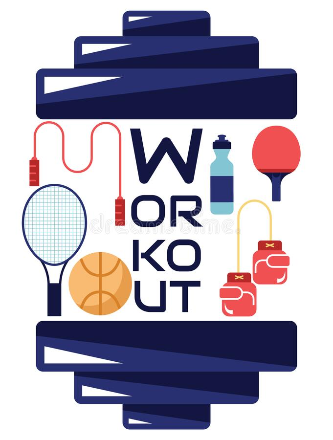 Workout and sport equipment poster. On white vector illustration
