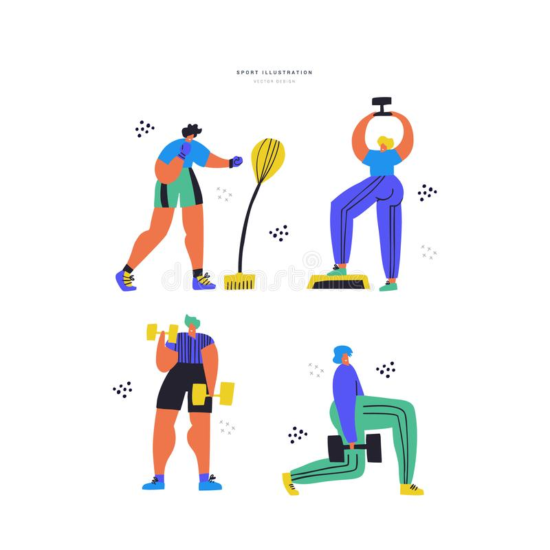 Workout, training hand drawn flat illustration set royalty free illustration