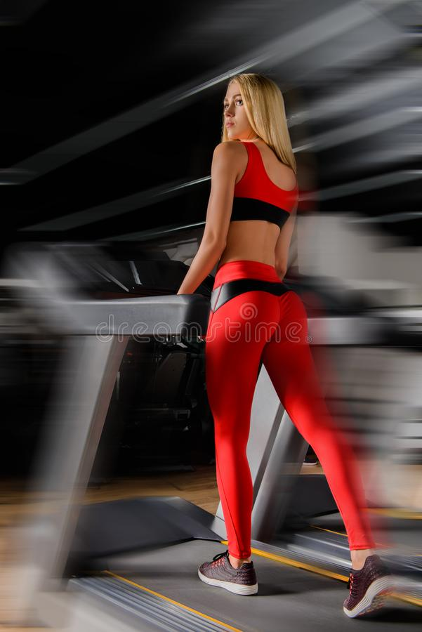 Workout on a treadmill stock photography