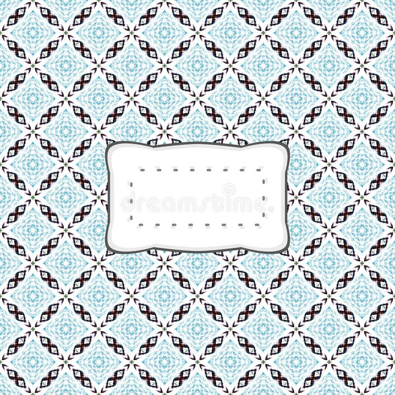 Workpad cover or banner with retro sticker. Workpad cover or banner with retro stylized blue white black diagonally checkered pattern and clear sticker royalty free illustration