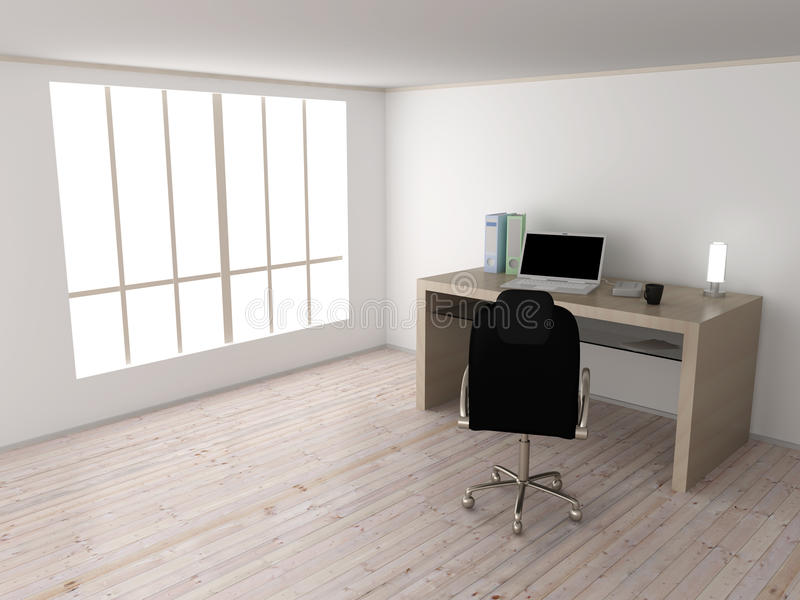 Workplace. An office workplace. 3D rendered Illustration