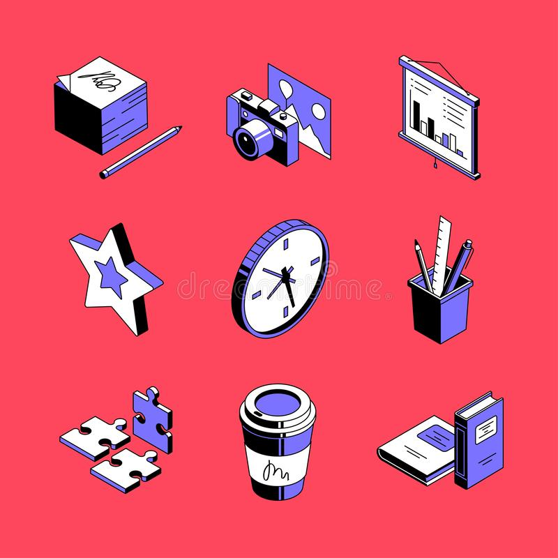 Workplace accessories - colorful vector isometric icons set stock illustration