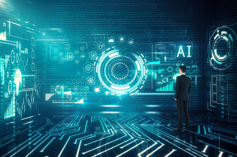 Workplace, ai and future concept stock photo