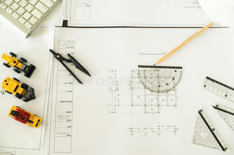 Workplace of architect - Architectural project, blueprints, blue stock photos