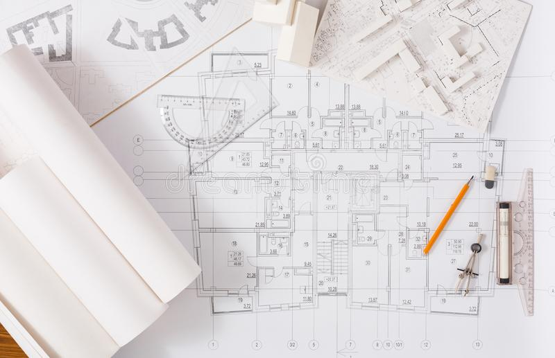 Architectural project, engineering tools on table. Workplace of architect. Engineering tools for creating new architectural project on table, top view royalty free stock images
