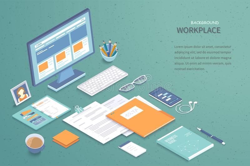 Workplace background. Top view of table with monitor, notebook, folder with documents, keyboard, book, glasses, phone. Analytics. Optimization, management stock illustration