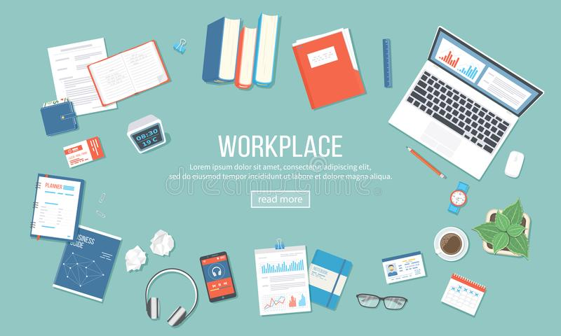 Workplace background. Top view of table with supplies laptop, books, documents, folder, notepad, calculator, calendar, headphones,. Clock, coffee, id card royalty free illustration