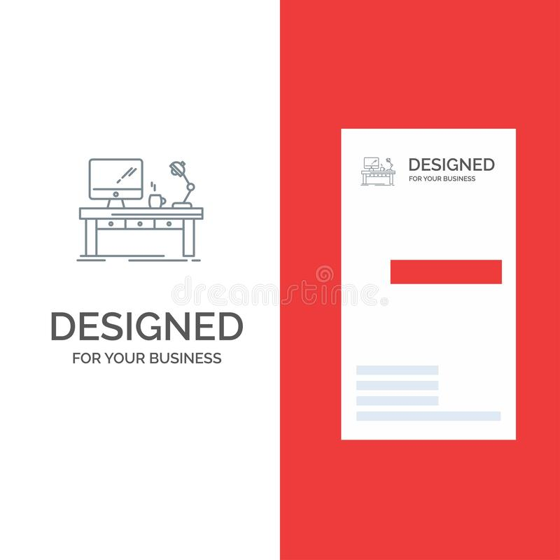 Workplace, Business, Computer, Desk, Lamp, Office, Table Grey Logo Design and Business Card Template vector illustration