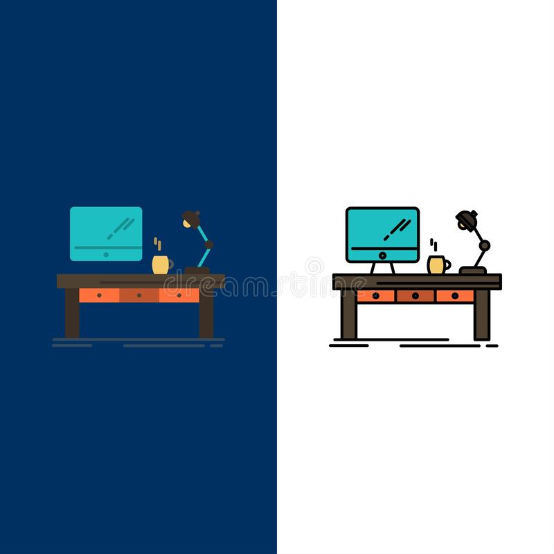 Workplace, Business, Computer, Desk, Lamp, Office, Table  Icons. Flat and Line Filled Icon Set Vector Blue Background royalty free illustration