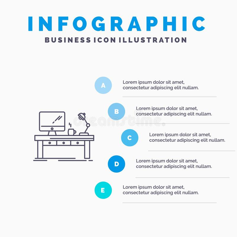Workplace, Business, Computer, Desk, Lamp, Office, Table Line icon with 5 steps presentation infographics Background stock illustration