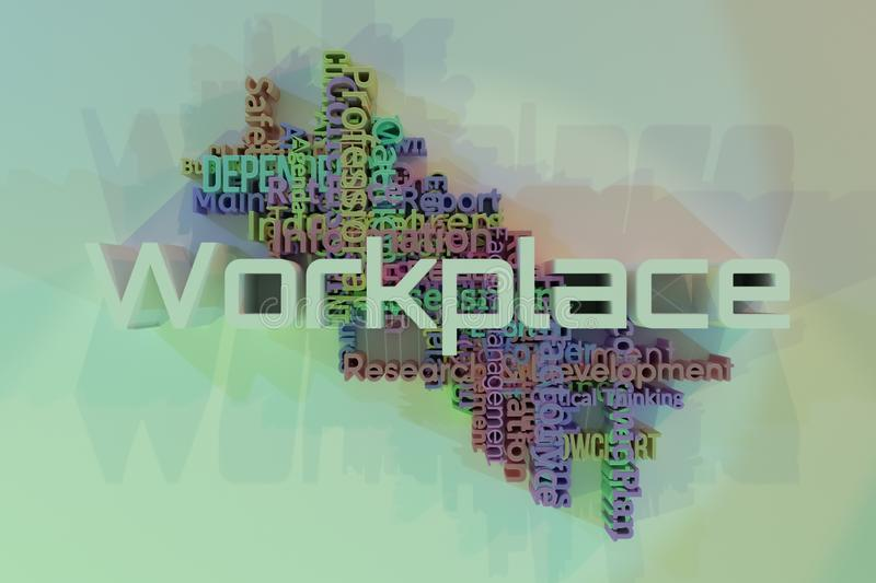 Workplace, business keyword words cloud. For web page, graphic design, texture or background. 3D rendering. Workplace, business keyword words cloud. For web stock illustration