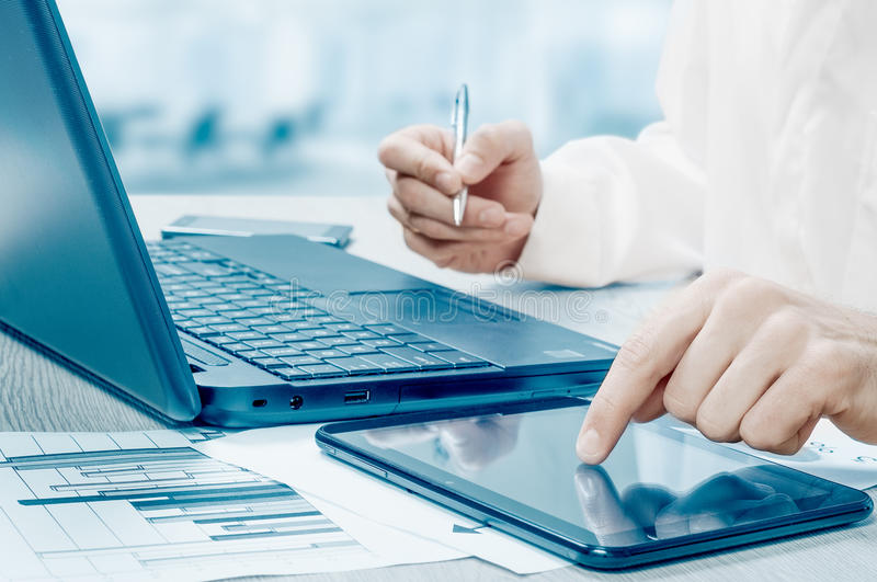 Workplace of the businessman. Data science. Omnichannel. stock photo