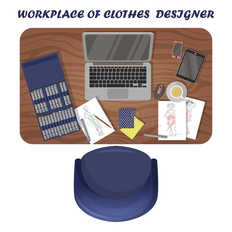 Workplace of clothes designer. Fashion illustrator`s workspace. View from above stock illustration