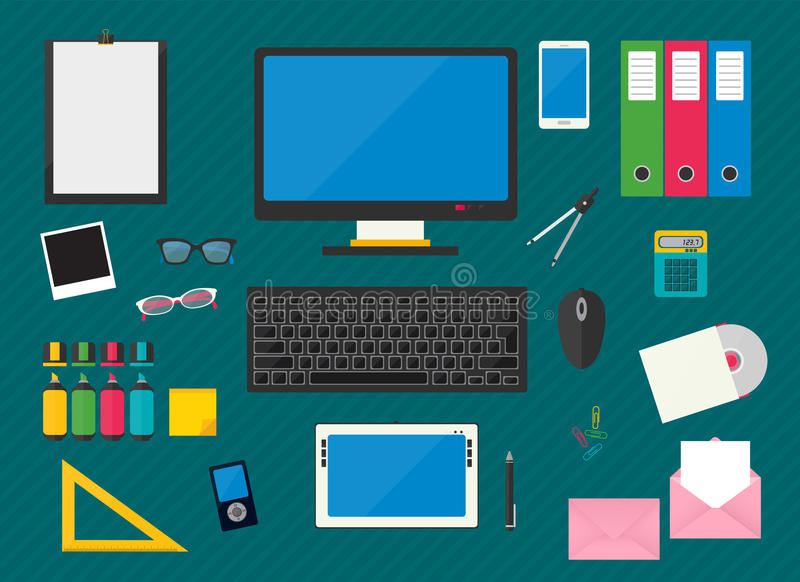 Workplace with computer devices. Flat multicolored design vector illustration of workplace with computer devices, office objects and business documents vector illustration