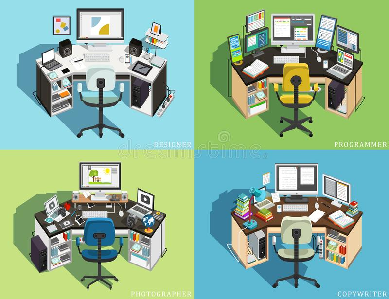 Workplace at the computer of different professions. Programmer, Designer Photographer, Copywriter. Vector stock illustration