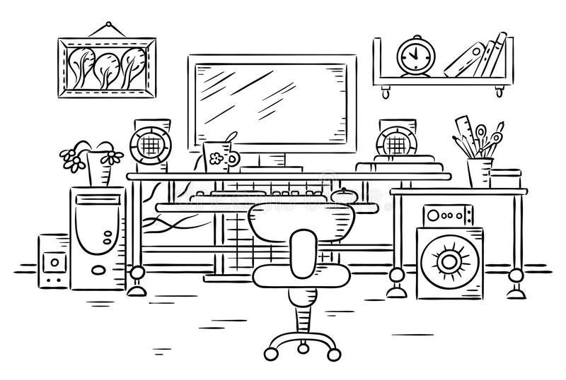 Workplace with a computer table. Black and white drawing royalty free illustration