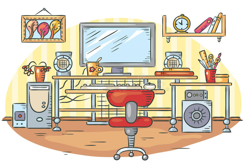 Workplace with a computer table. Colorful vector drawing stock illustration