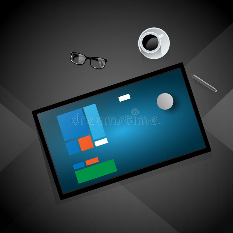 Workplace Computer Tablet Coffee Cup Top Angle View stock illustration