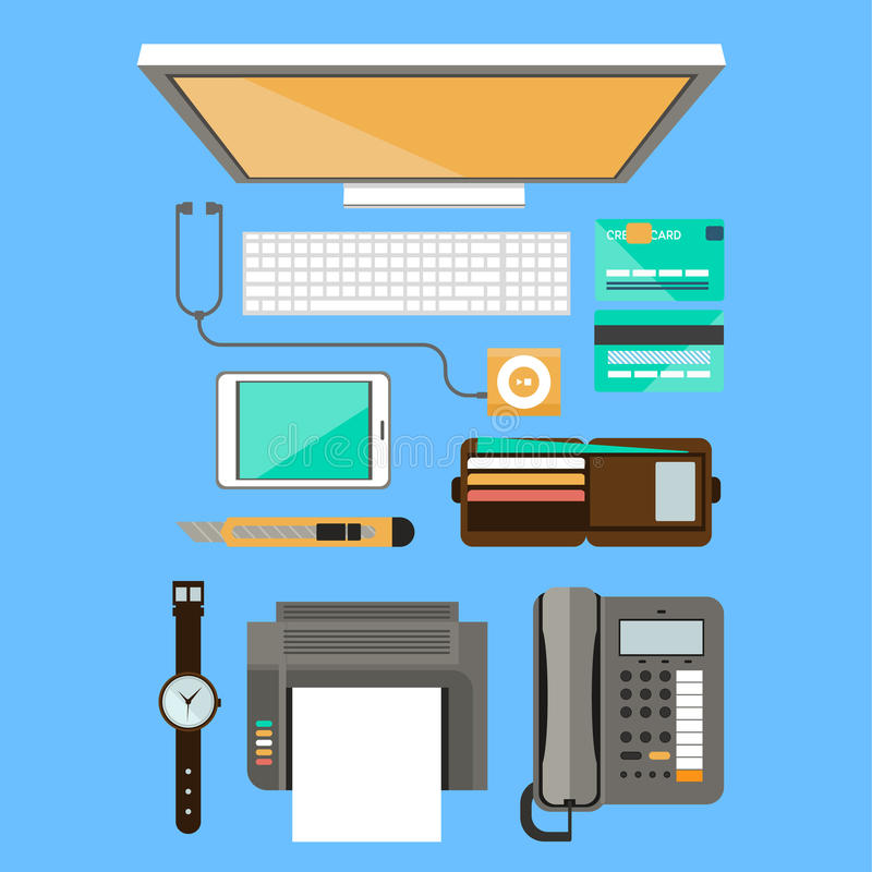Workplace concept. Flat design. Set of objects on the table vector illustration