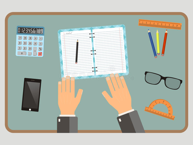 Workplace concept. Top view hands, calculator, notebook, pencil, mobile phone. Vector flat illustration. stock illustration
